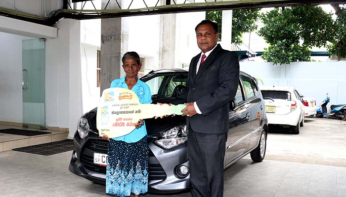 Super Vigo motor car, prize of the special draw of Lagna Wasana Supiri Dhana Yogaya goes to Ambalantota