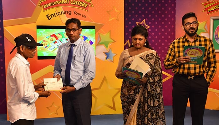 The cheque is awarded to super winner of Kotipathi Kapruka lottery