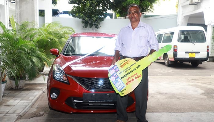 Baleno motor car, the first prize of 'Supiri Dhana Yogaya' of Lagna Wasana goes to Mr. Navaratna of Mawanella